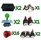 1 KIT for 2 player PC/PS 3 2 IN 1 arcade game controller with lighted joystick