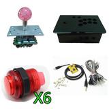 DIY 单人电脑/PS3摇杆控制盒 控台 街机游戏控台 带灯摇杆 带灯按钮